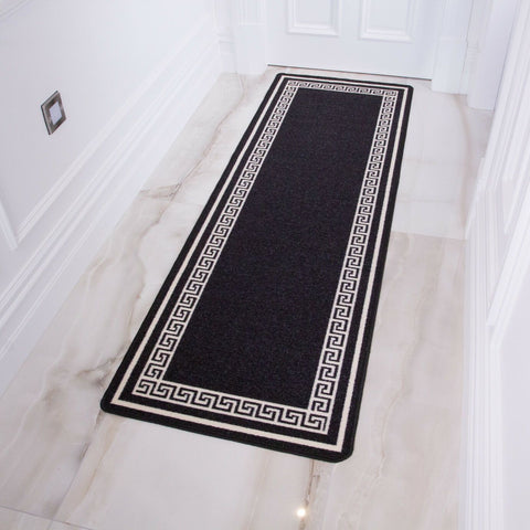 Black Greek Border Runner Rug