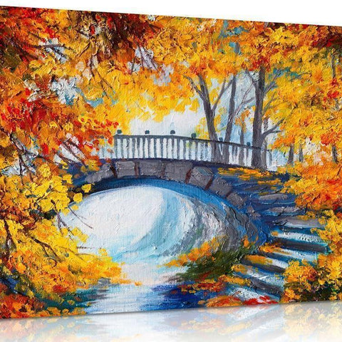 Autumn Bridge Landscape Canvas