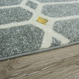Silver, Yellow & Blue Abstract Rug