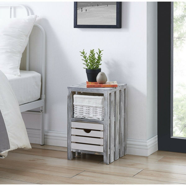 Grey Rustic Table Unit Cabinet with Wicker Basket