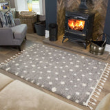 Grey Polka Dot Rug with Tassels