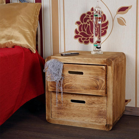 2 Drawer Wooden Brown Bedside Table