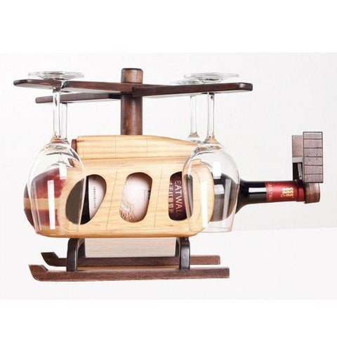 Helicopter Wine Bottle & Glass Holder