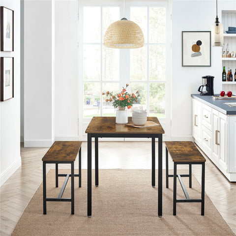 Rustic Dining Table with 2 Benches