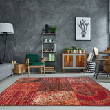 Deep Red Country Patchwork Rug