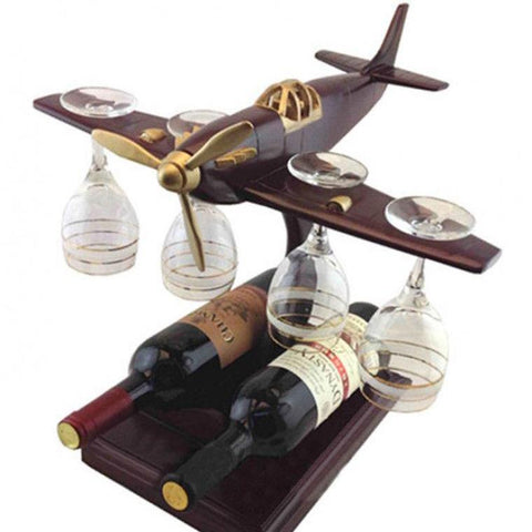Aeroplane Wine Bottle & Glass Holder