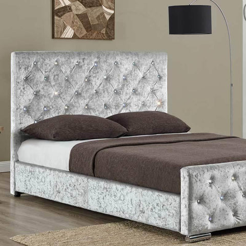 Silver Velvet Studded Fabric Double or King Sized Bed Frame