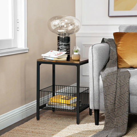 Rustic Side Table & Wire Basket