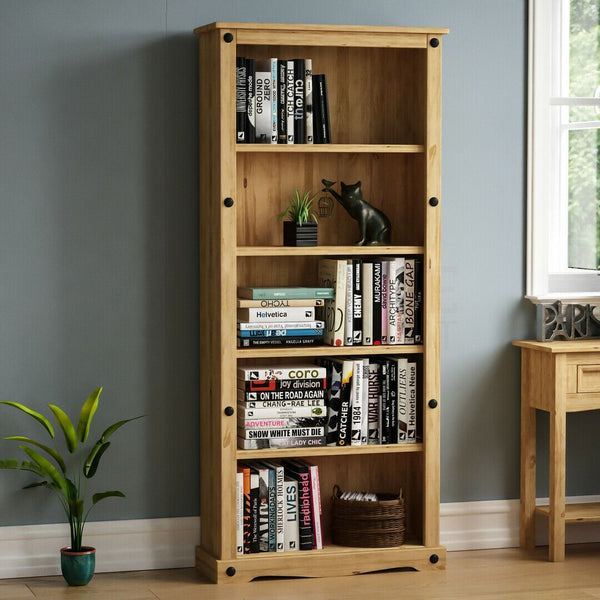 Solid Pine Wood Tall Bookcase
