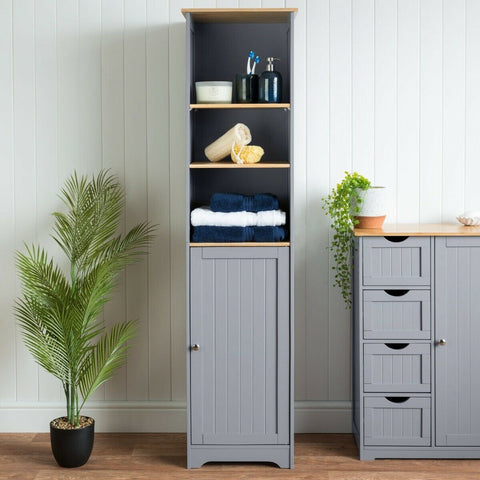 Tall Grey Bathroom Shelf Cabinet