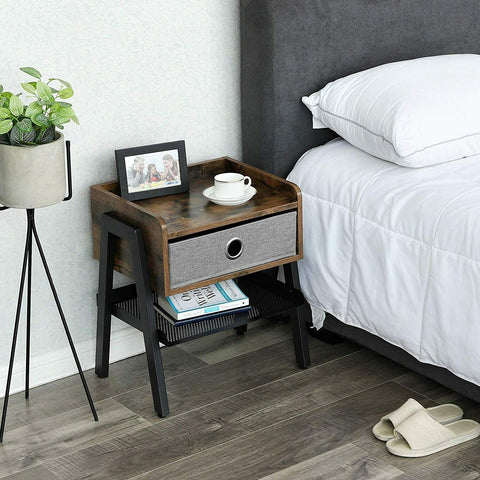 Grey Fabric Rustic Bedside Table