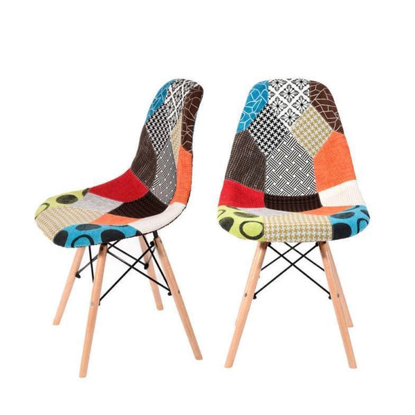Set of 2 Patchwork Padded Chairs