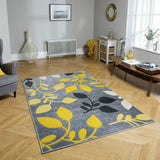 Grey, Yellow & Black Floral Rug
