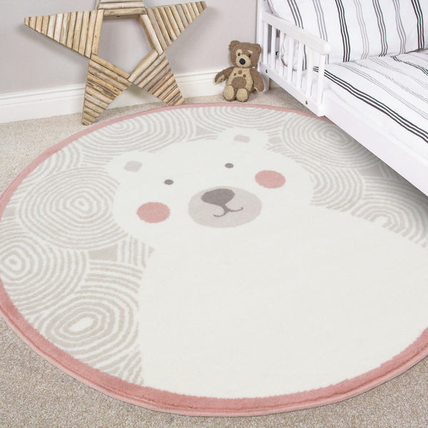 Blush Pink Teddy Bear Circular Rug