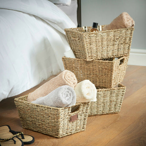 Set of 4 Natural Hand Made Storage Baskets with Handles