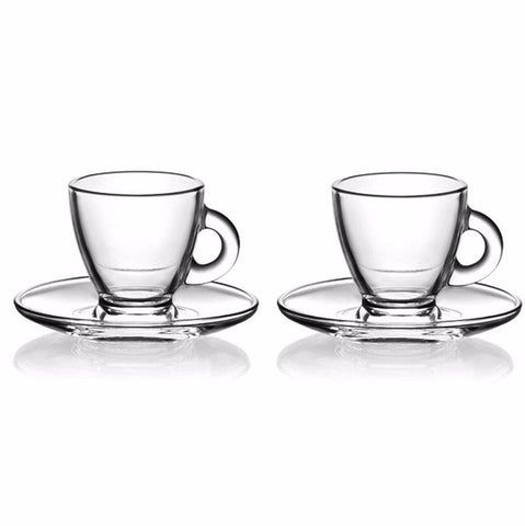 12 x High Quality Espresso Glass & Saucer Set