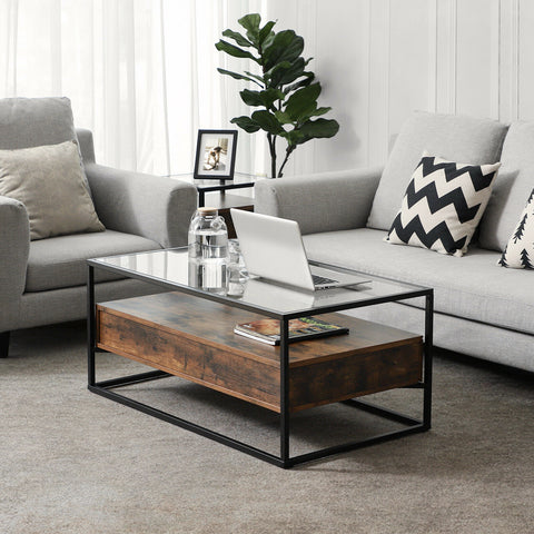 Rustic Tempered Glass Coffee Table