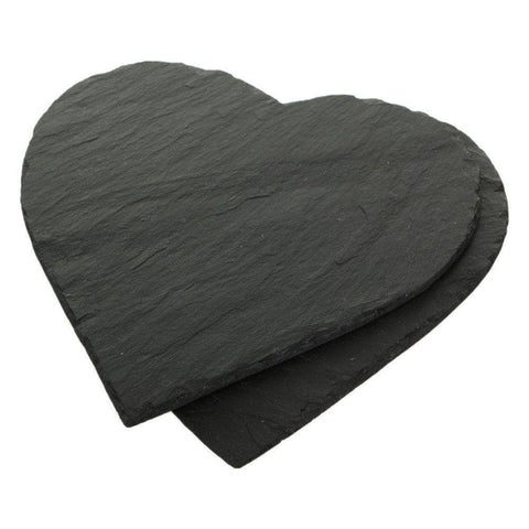 8pcs Natural Slate Heart Placemats & Coaster Set