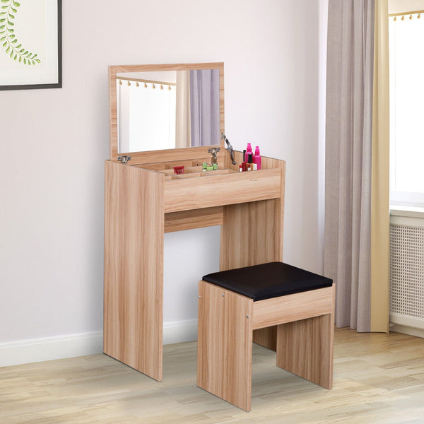 Dressing Table Set with Cushioned Stool