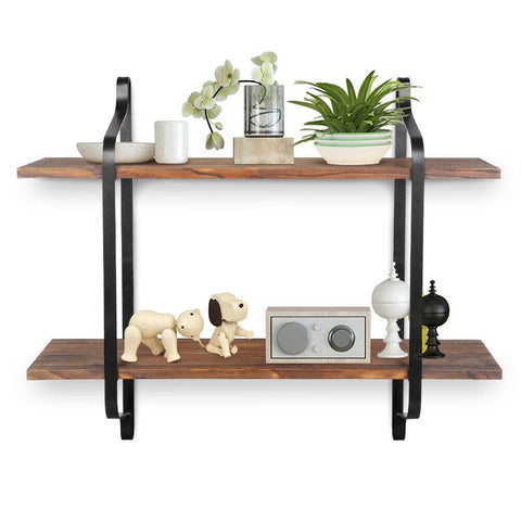 2 Tier Wood & Metal Shelves