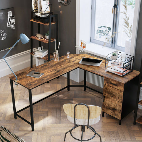 Rustic L-Shaped Desk with Cupboard
