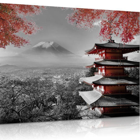 Japanese Autumn Temple Canvas