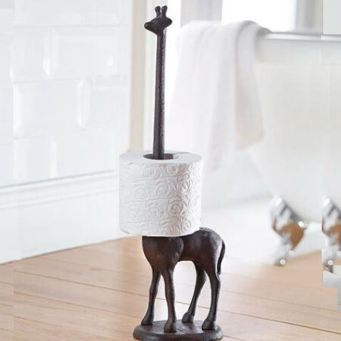 Cast Iron Giraffe Toilet Roll Holder