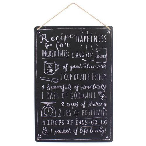 Happiness Recipe Chalkboard Sign