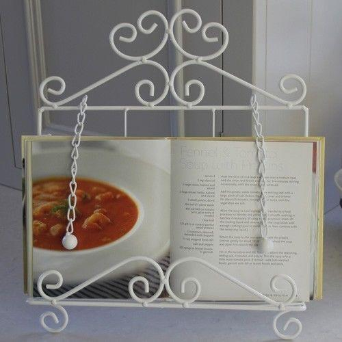 White Metal Recipe Book Holder