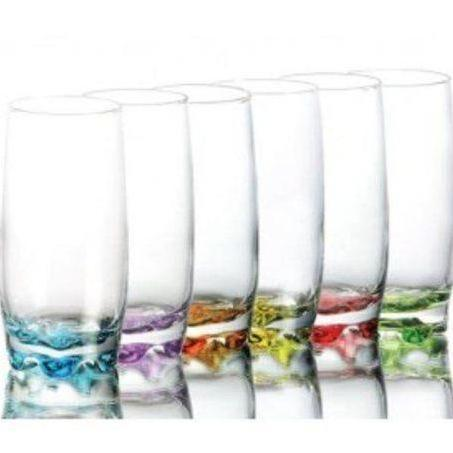 6 Piece Coloured Base Glass Set