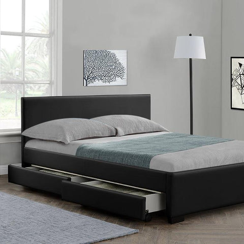 Black Bed Frame with 4 Drawers - Double/King