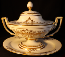 "Load image into Gallery viewer, SKU# 4081 Medium Soup Tureen ""Second Empire Gold Pattern"""
