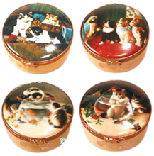 Load image into Gallery viewer, SKU# 5251 - Set of 4 decal boxes w/cats