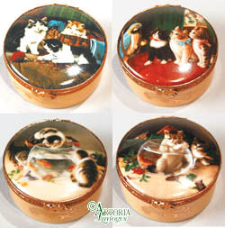SKU# 5251 - Set of 4 decal boxes w/cats