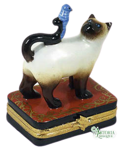 SKU# 7616 - Siamese Cat With Blue Bird