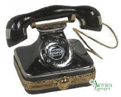 SKU# 7701 - Square Black Old Fashionned Telephone - (RETIRED)