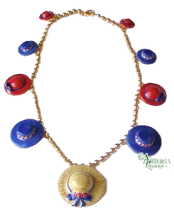 SKU# 8900 - Hat Necklace: Red & Blue