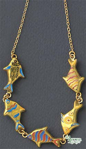 SKU# 8933 - Swimming Fish Necklace
