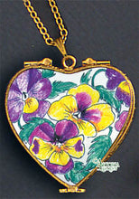 Load image into Gallery viewer, SKU# 8937 - Pendant  Necklace - Heart: Pansy  -