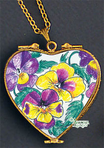 SKU# 8937 - Pendant  Necklace - Heart: Pansy  -