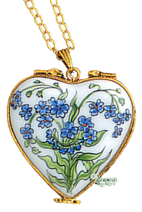 SKU# 8939 - Pendant  Necklace - Heart: Forget Me Not  -