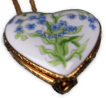 Load image into Gallery viewer, SKU# 8940 - Pendant  Necklace -  Heart: Blue flowers -