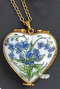 SKU# 8940 - Pendant  Necklace -  Heart: Blue flowers -
