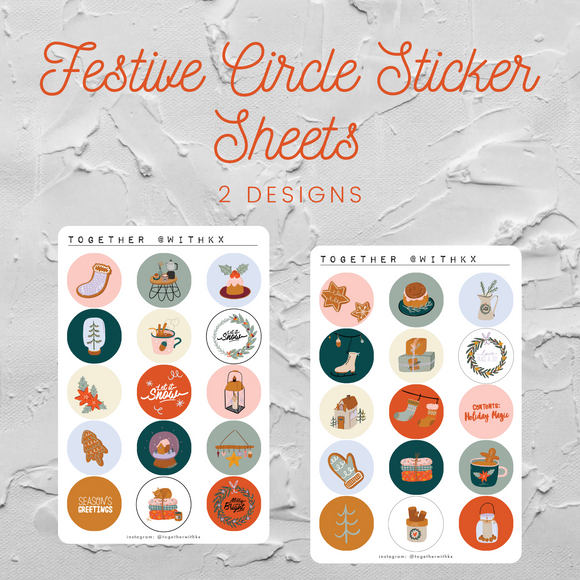 Festive Circles Sticker Sheet (2 designs)
