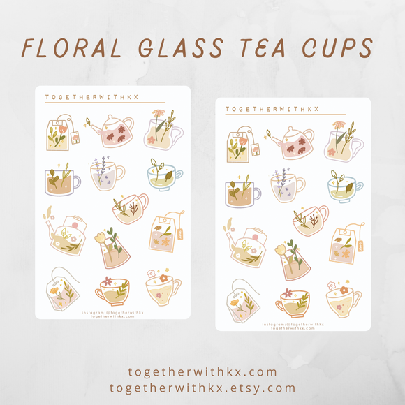 Floral Glass Tea Cups Sticker Sheet