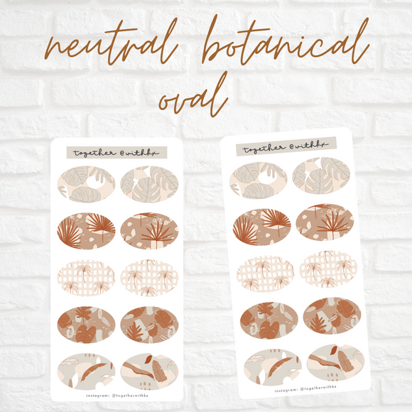 Neutral Botanical Oval Mini Sticker Sheet