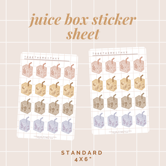 Juice Box Sticker Sheet - Standard Size
