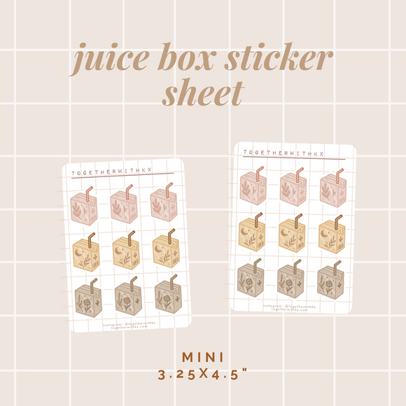 Juice Box Sticker Sheet - Mini Size