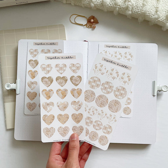 Heart Botanical Pattern Mini Sticker Sheet