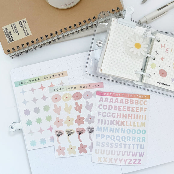 Glitter Effect Deco Mini Sticker Sheet - 3 designs